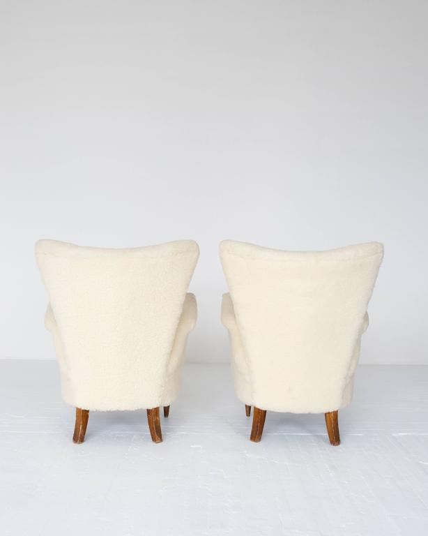 Pair of 1950s Italian Sheepskin Lounge Chairs 2