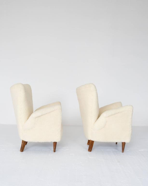 Pair of 1950s Italian Sheepskin Lounge Chairs 3