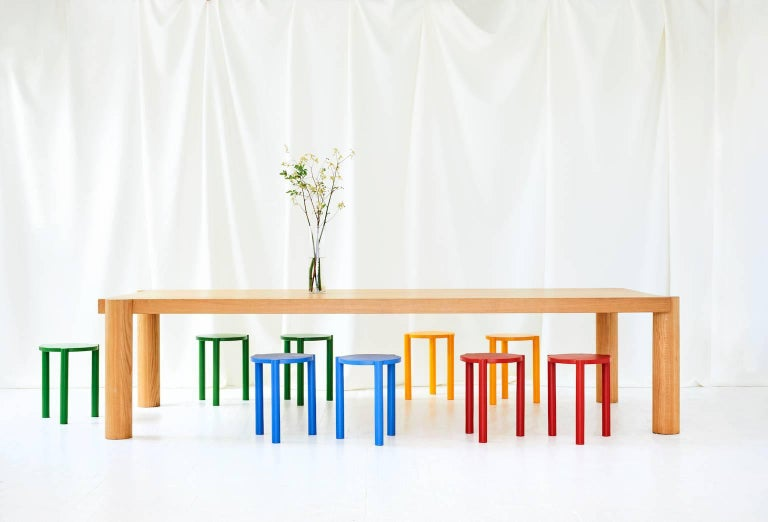 Minimalist WC3 Stool by ASH NYC in Blue For Sale