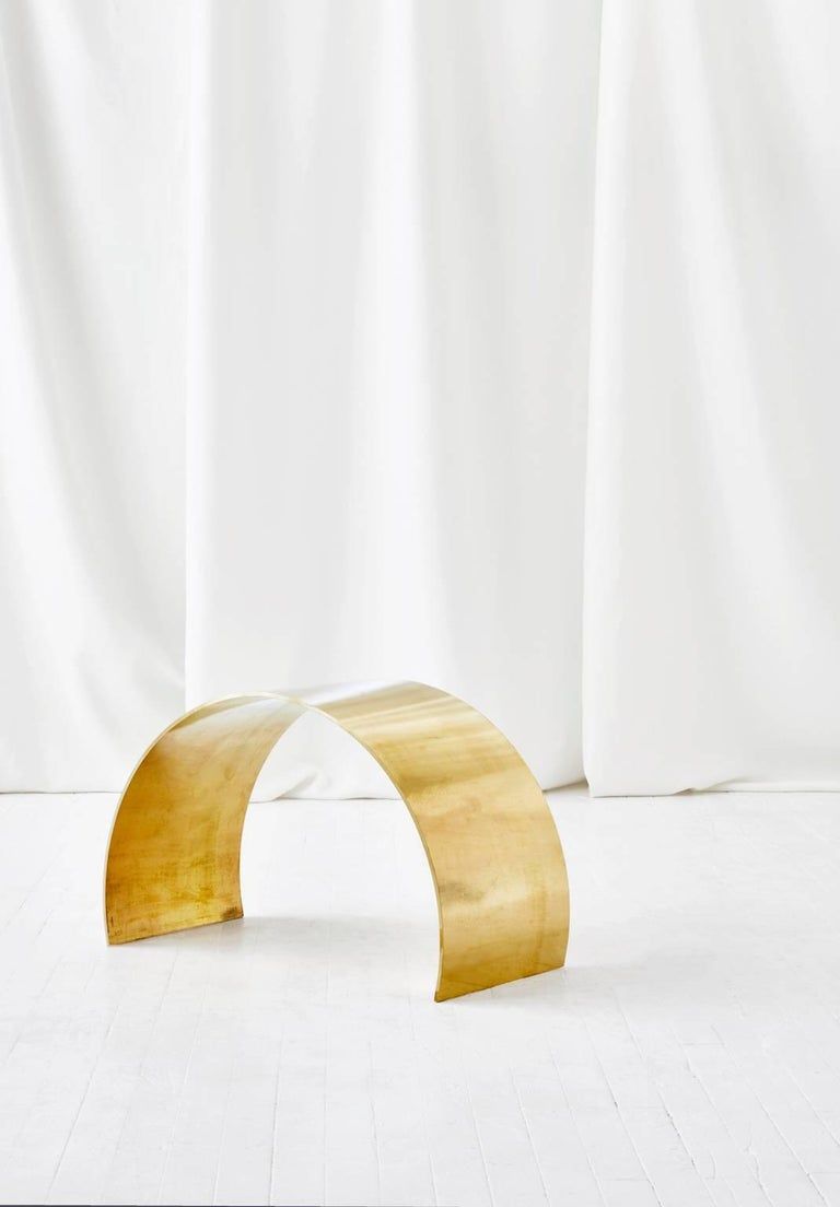 Equal parts sculpture and stool, the un-lacquered but waxed, living brass arc stool by ASH NYC is both functional and beautiful.  Inspired by forms from the renowned artist Richard Serra, the stool lends itself to being a standout piece in any home