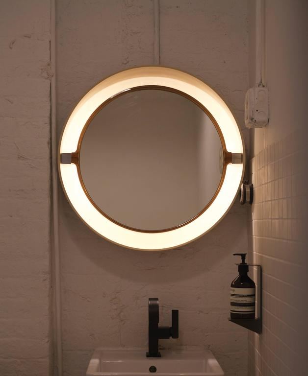 Unique light-up mirror with mirror on a two way swivel. Has euro plug.