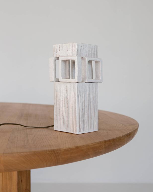 Mid-Century Modern White Ceramic Lamp For Sale