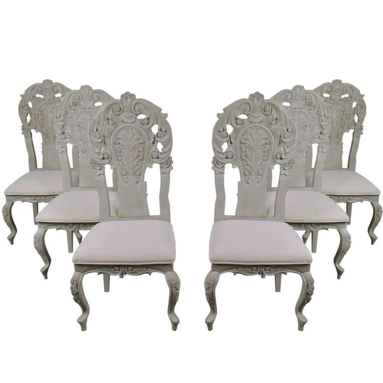 Set Of Six Italian Rococo Painted Dining Chairs At 1stdibs