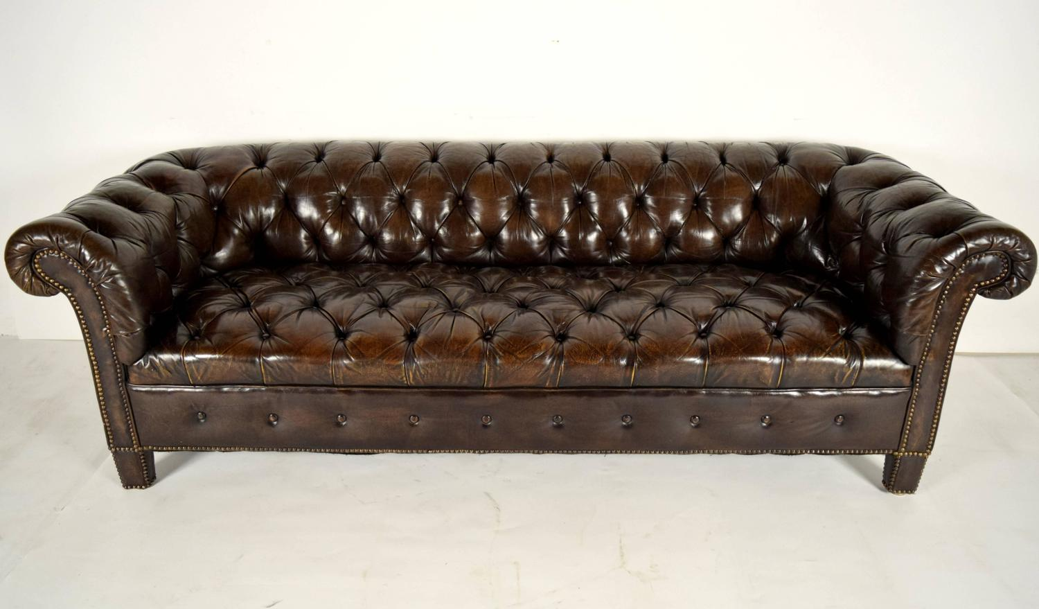 Vintage Chesterfield Leather Tufted Sofa at 1stdibs
