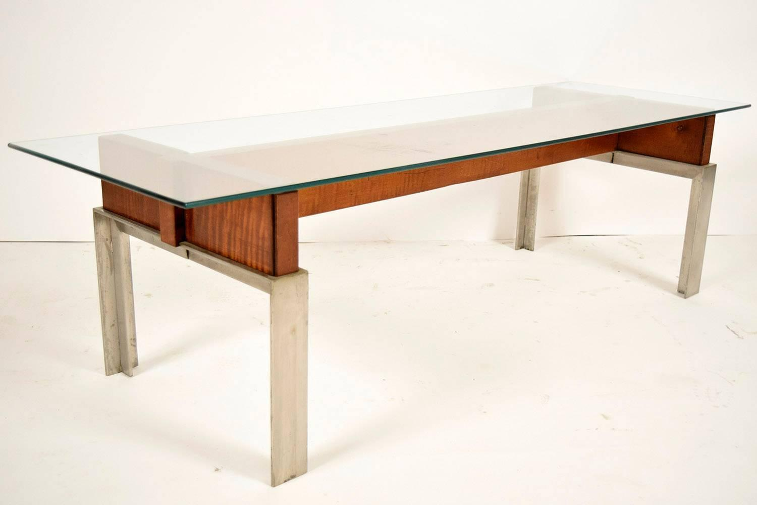 1970 39 s mid century modern style chrome base coffee table for 60s style coffee table
