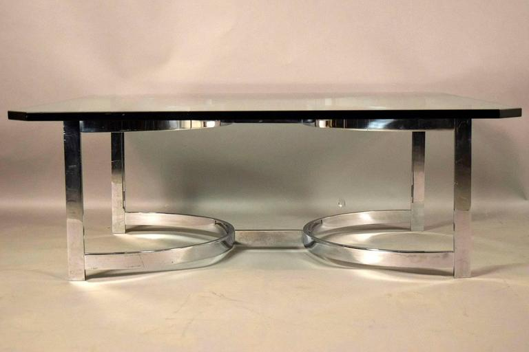 Mid-Century Modern Mid-Century Chrome and Glass Coffee Table For Sale