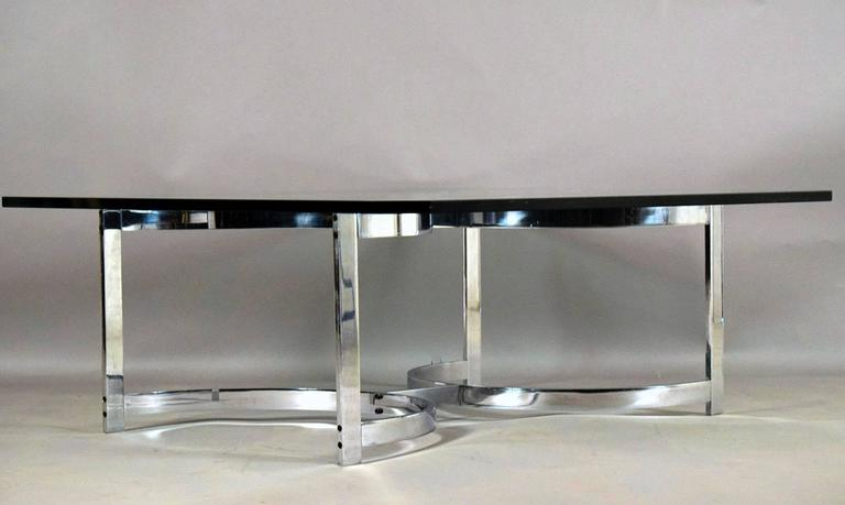 European Mid-Century Chrome and Glass Coffee Table For Sale
