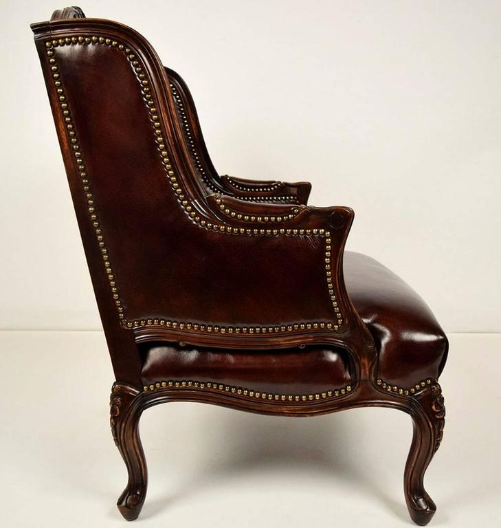 European Vintage Louis XV Style Wingback Leather Chair And Ottoman For Sale