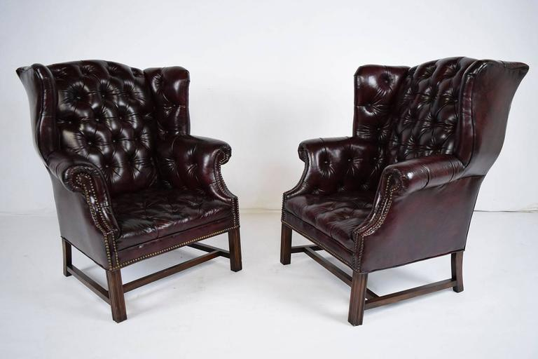 Pair Of Chesterfield Tufted Leather Wingback Chairs At 1stdibs