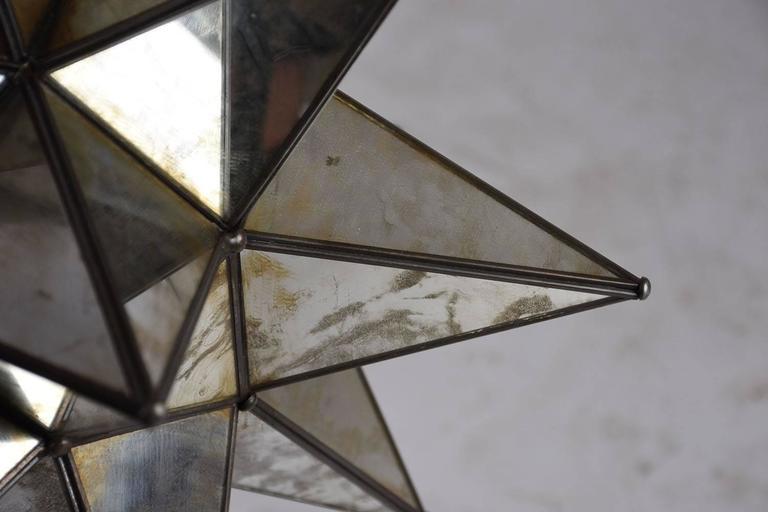 Metal Starburst Mirrored Chandelier or Pendant For Sale