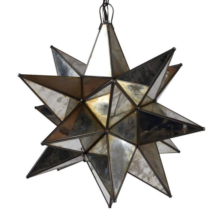 Modern Starburst Mirrored Chandelier or Pendant For Sale