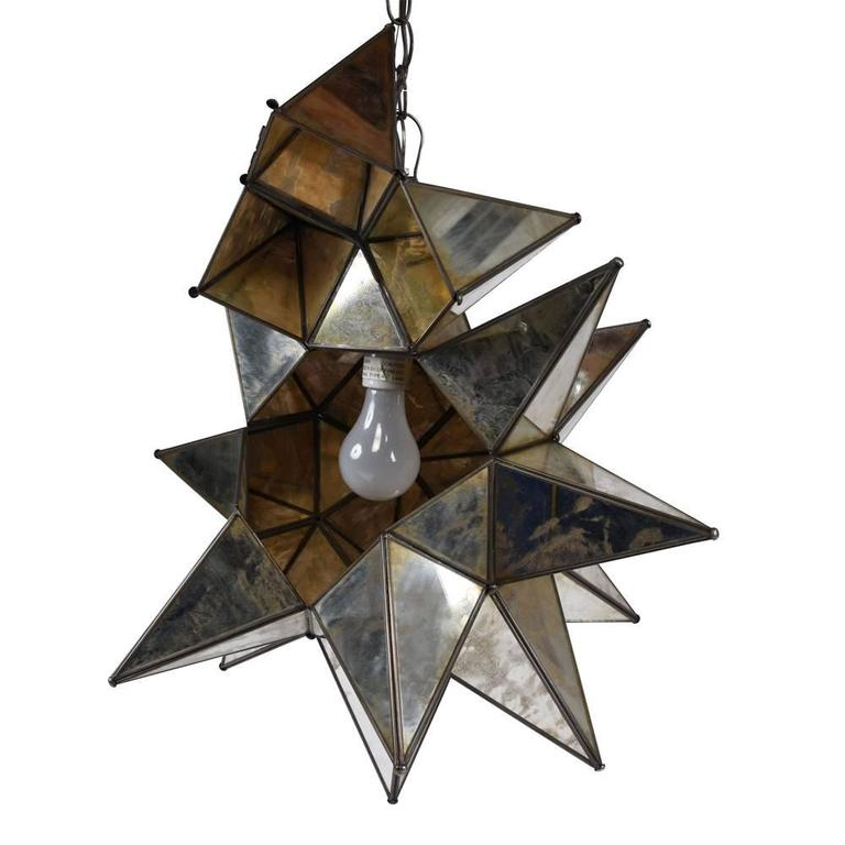 Starburst Mirrored Chandelier or Pendant In Excellent Condition For Sale In Los Angeles, CA