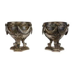 Antique Silver Plated Bronze Urns