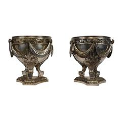 19th Century Louis XVI-Style Pair of Silver Plated Bronze Urns