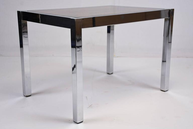 Rosewood Pair of Mid-Century Modern Chrome and Wood Side Tables For Sale