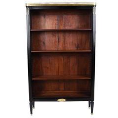 French Louis XVI Ebonized Open Bookshelf