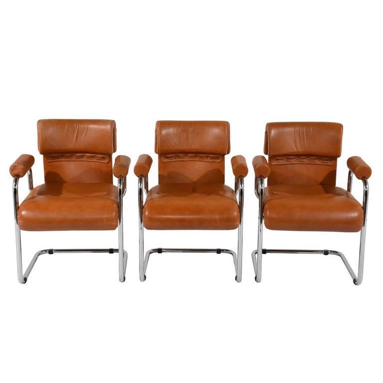 Set Of Six Italian Mariani Original Leather Dining Chairs