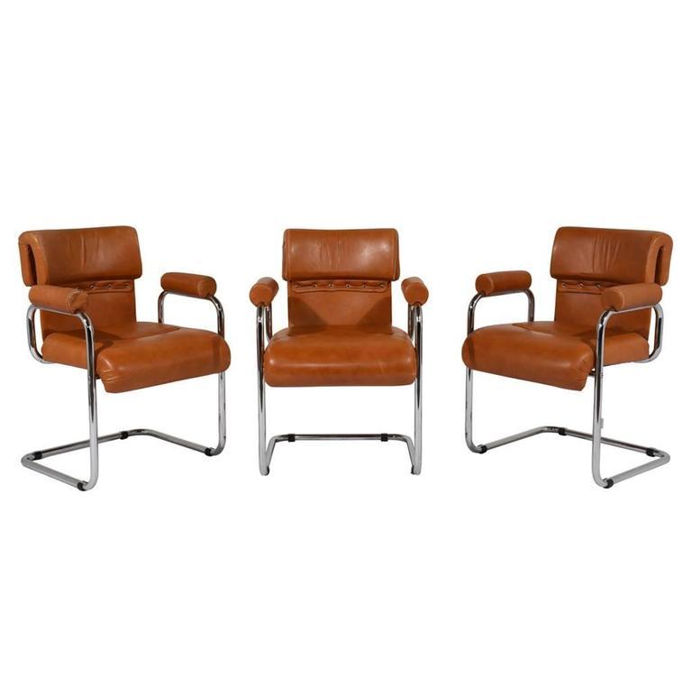 Set Of 6 Italian I4 Mariani Original Leather Dining Chairs