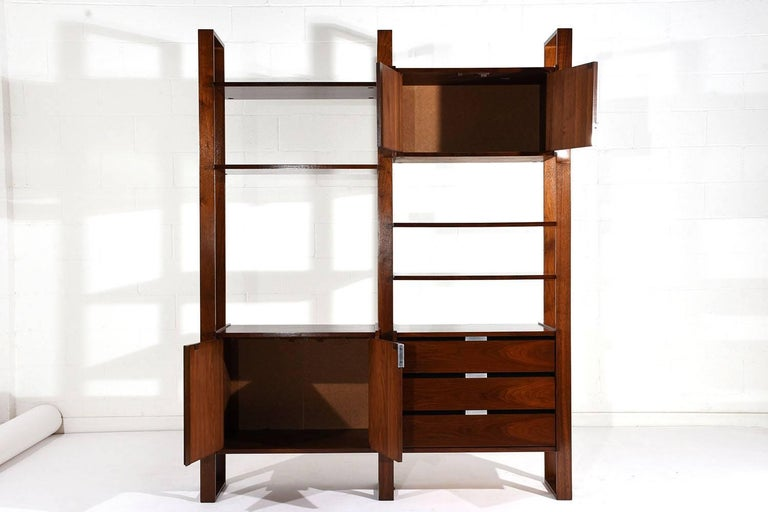 Carved Mid Century Modern Style Walnut Wall Unit Bookcase For Sale