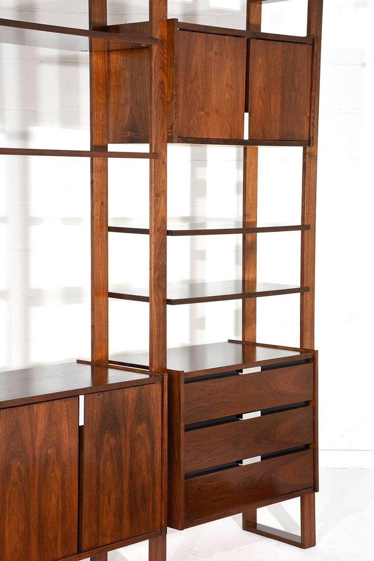 Mid century modern style walnut wall unit bookcase for - Modern bookshelf wall unit ...