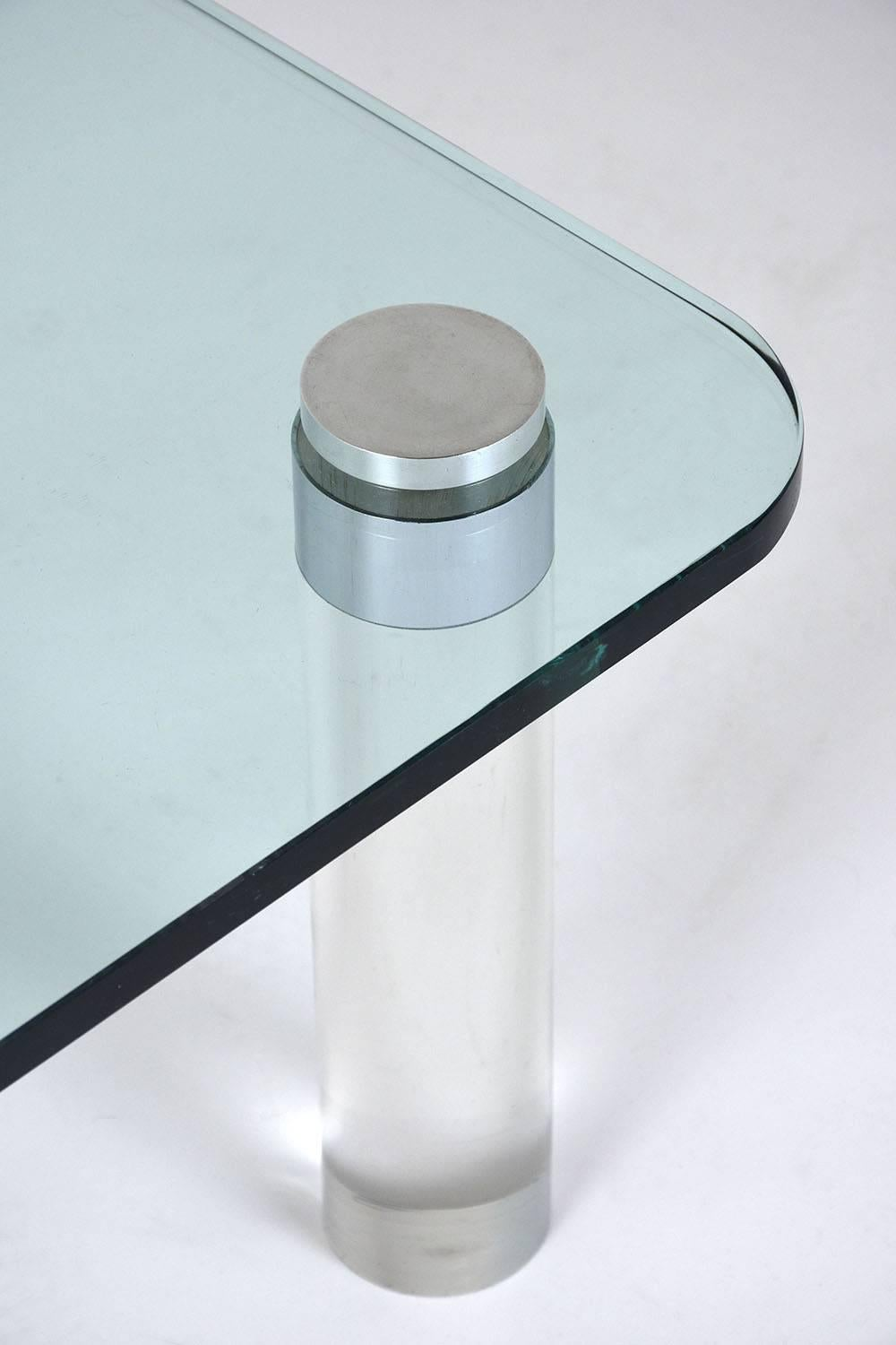 Mid Century Modern Style Lucite And Glass Coffee Table