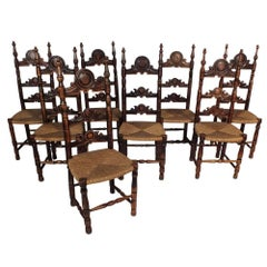 Set of Eight Antique French Provincial Dining Chairs