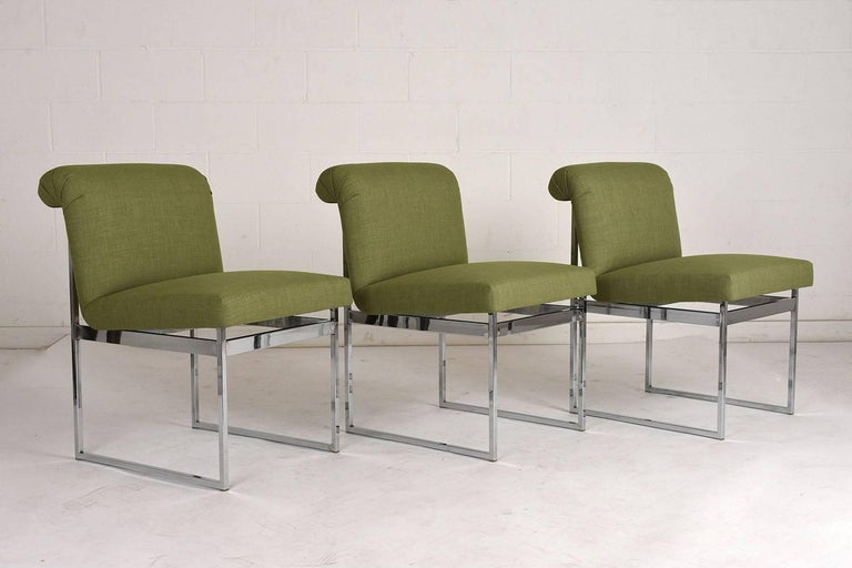 Mid-Century Modern Set of Six Milo Baughman Dining Chairs For Sale