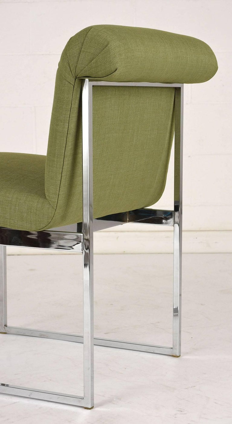 Fabric Set of Six Milo Baughman Dining Chairs For Sale