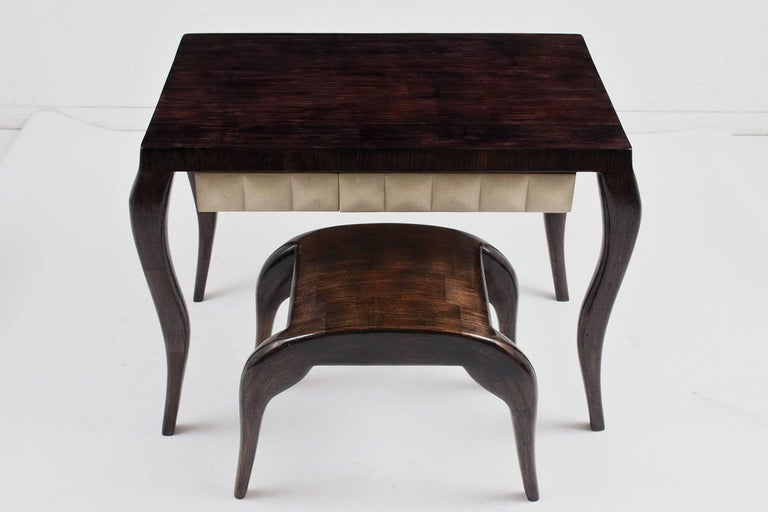 French R & Y Augousti Modern-Style Dressing Table and Bench Set For Sale