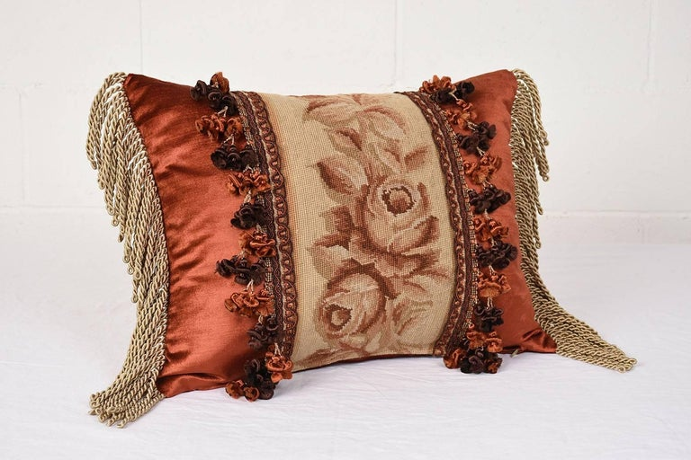 19th Century Set of Three French Antique Tapestry Throw Pillows For Sale