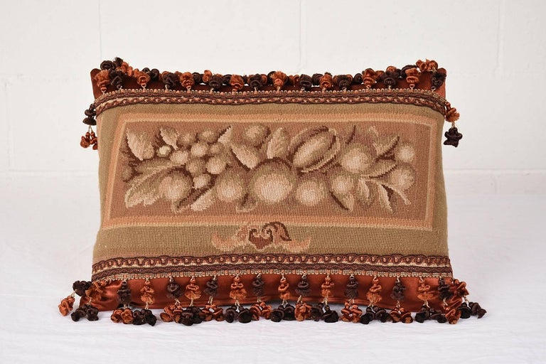 Fabric Set of Three French Antique Tapestry Throw Pillows For Sale
