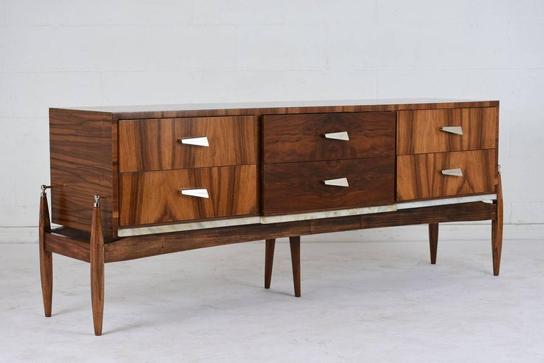 Carved Pair of 1960s Modern Style  Italian Credenzas For Sale