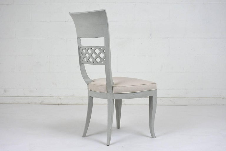 Set of Six Hollywood Regency-Style High Back Dining Chairs For Sale 1