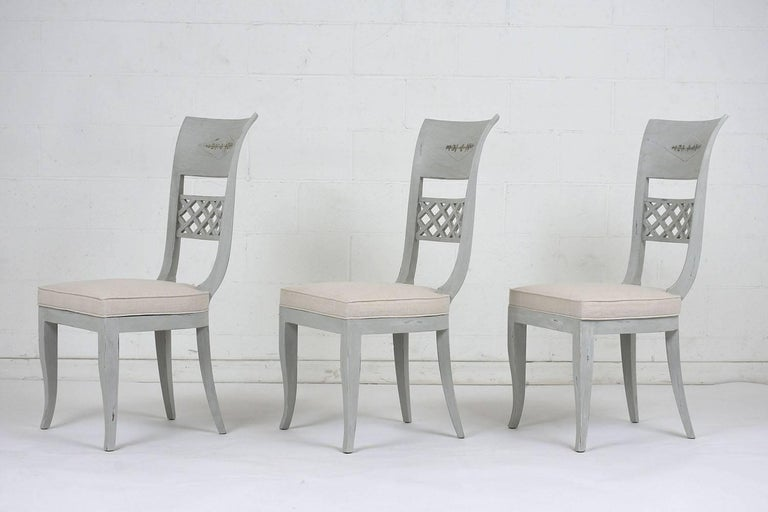 Carved Set of Six Hollywood Regency-Style High Back Dining Chairs For Sale