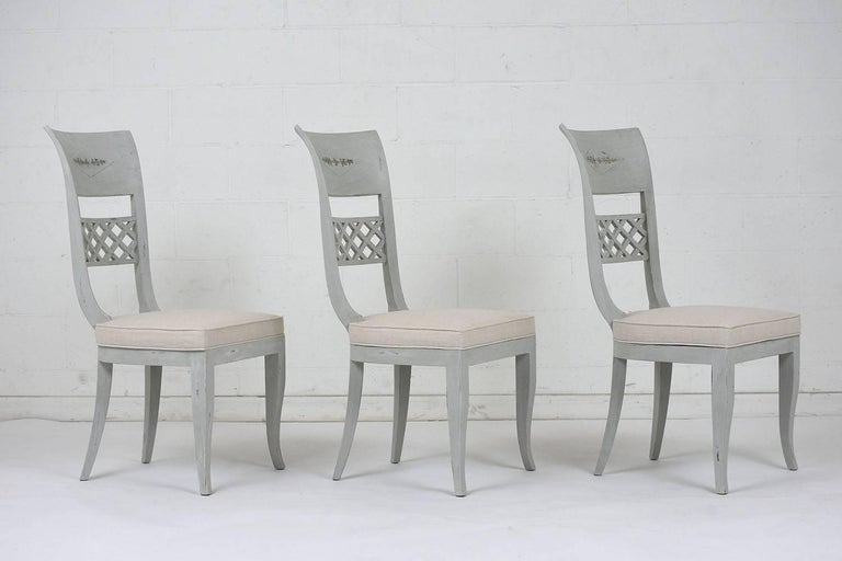 Set of Six Hollywood Regency-Style High Back Dining Chairs In Excellent Condition For Sale In Los Angeles, CA