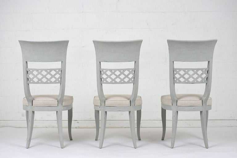 20th Century Set of Six Hollywood Regency-Style High Back Dining Chairs For Sale