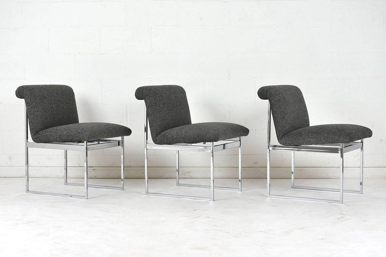 Mid-Century Modern Set of Six Milo Baughman Style Dining Chairs For Sale