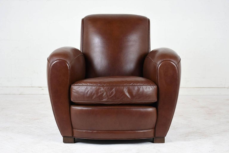 20th Century Pair of French Art Deco-style Leather Club Chairs For Sale
