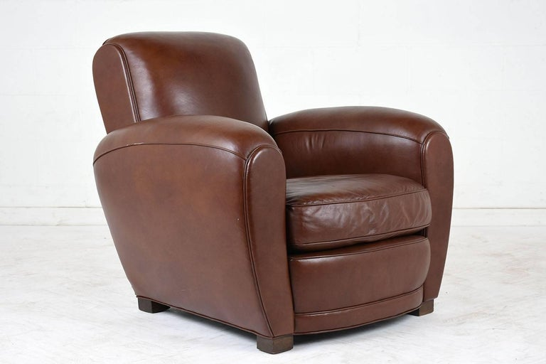 Pair of French Art Deco-style Leather Club Chairs For Sale 1