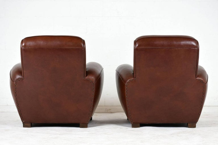 Pair of French Art Deco-style Leather Club Chairs In Good Condition For Sale In Los Angeles, CA
