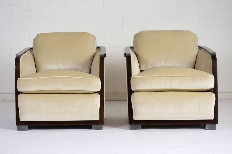Stained Pair of Art Deco Club Chairs For Sale