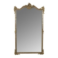 19th Century Silver Gilt French Mirror in Louis XVI-Style