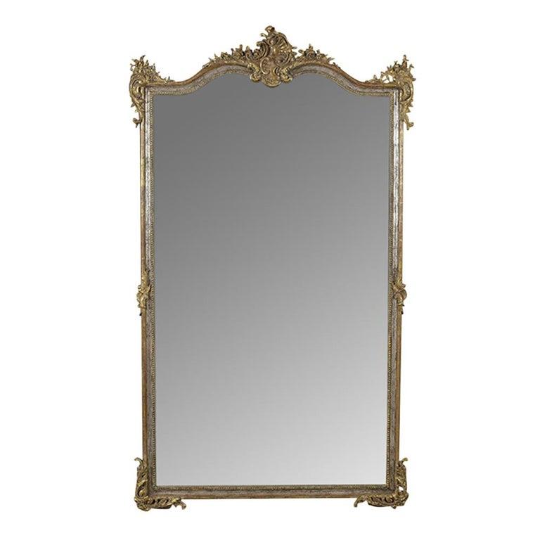 19th Century Silver Gilt French Mirror in Louis XVI-Style