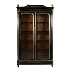 Grand Ebonized 19th Century French Louis XVI-Style Bookcase