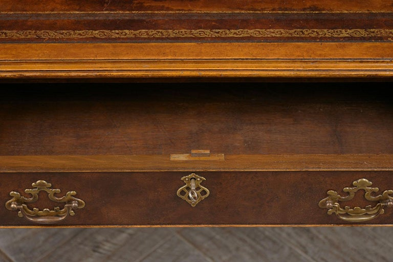 Chippendale Late 19th Century Partners Desk with Embossed Leather Top For Sale