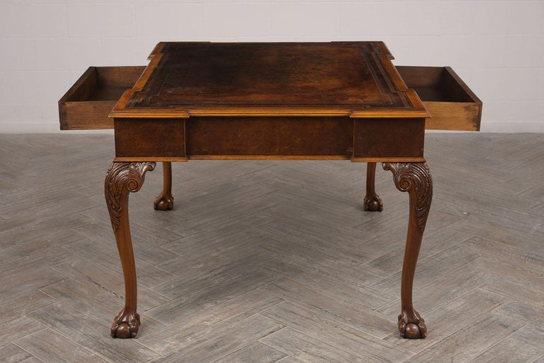 Late 19th Century Partners Desk with Embossed Leather Top In Excellent Condition For Sale In Los Angeles, CA