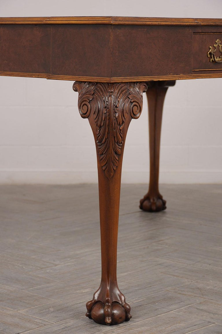 Brass Late 19th Century Partners Desk with Embossed Leather Top For Sale