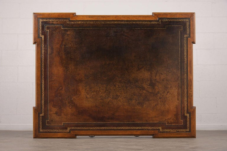 Late 19th Century Partners Desk with Embossed Leather Top For Sale 2