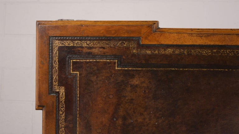 Late 19th Century Partners Desk with Embossed Leather Top For Sale 3