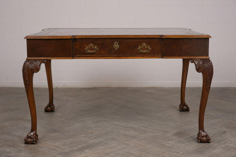 Late 19th Century Partners Desk with Embossed Leather Top For Sale 4